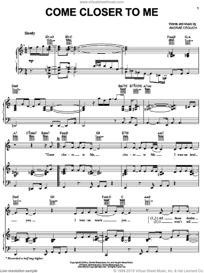 Come Closer To Me sheet music for voice, piano or guitar by Andrae Crouch, intermediate skill level