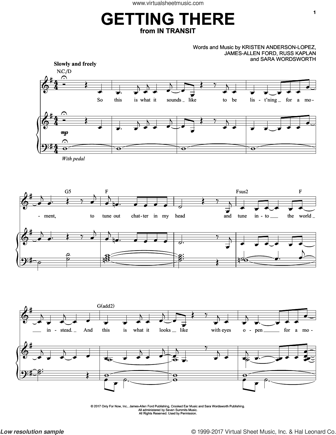Getting There sheet music for voice, piano or guitar by Kristen Anderson-Lopez, James-Allen Ford, Russ Kaplan and Sara Wordsworth, intermediate