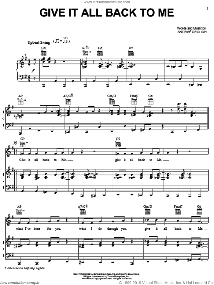 Give It All Back To Me sheet music for voice, piano or guitar by Andrae Crouch. Score Image Preview.