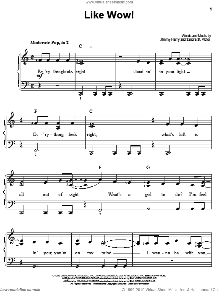 Like Wow! sheet music for piano solo (chords) by Sandra St. Victor