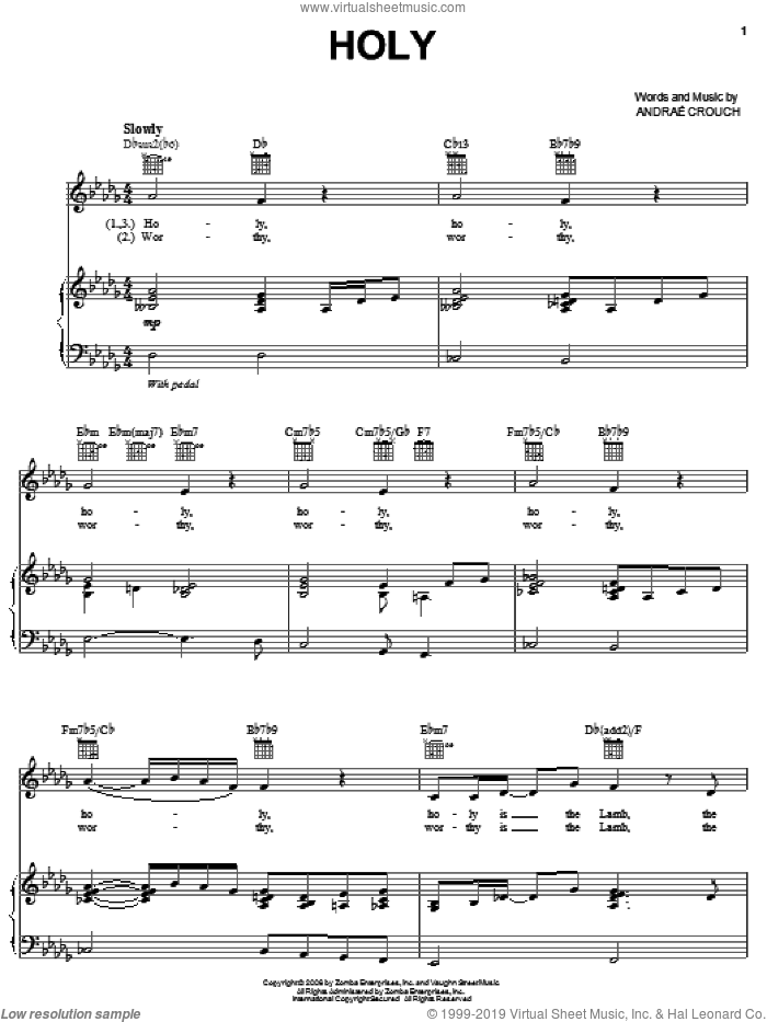 Holy sheet music for voice, piano or guitar by Andrae Crouch, intermediate. Score Image Preview.