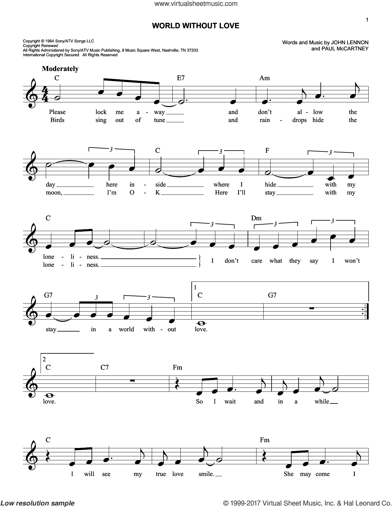 World Without Love sheet music for voice and other instruments (fake book) by Peter and Gordon, John Lennon and Paul McCartney, intermediate skill level