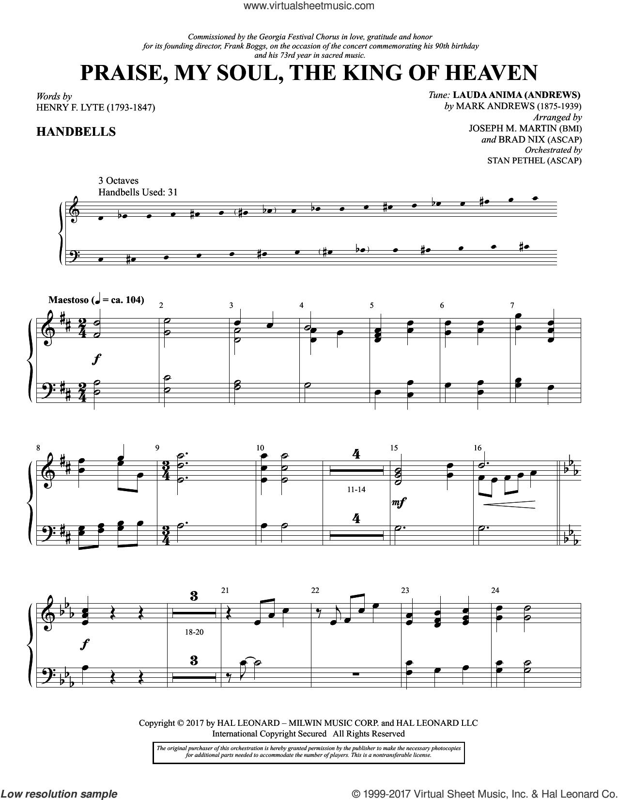 Praise, My Soul, the King of Heaven sheet music for orchestra/band (handbells) by Henry F. Lyte, Joseph M. Martin, Brad Nix, John Goss and Mark Andrews, intermediate skill level