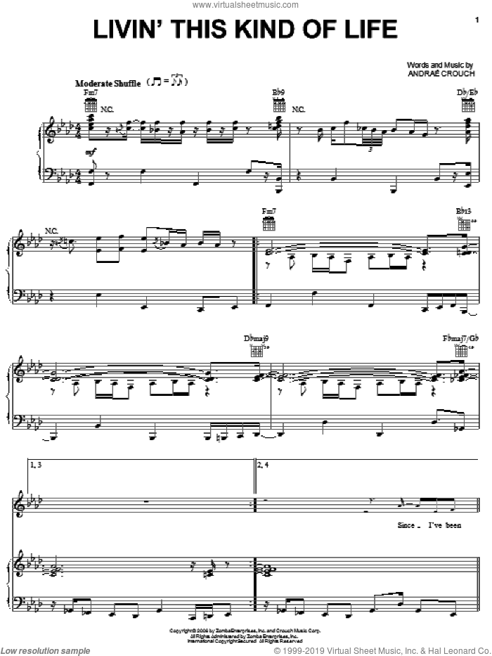 Livin' This Kind Of Life sheet music for voice, piano or guitar by Andrae Crouch, intermediate skill level