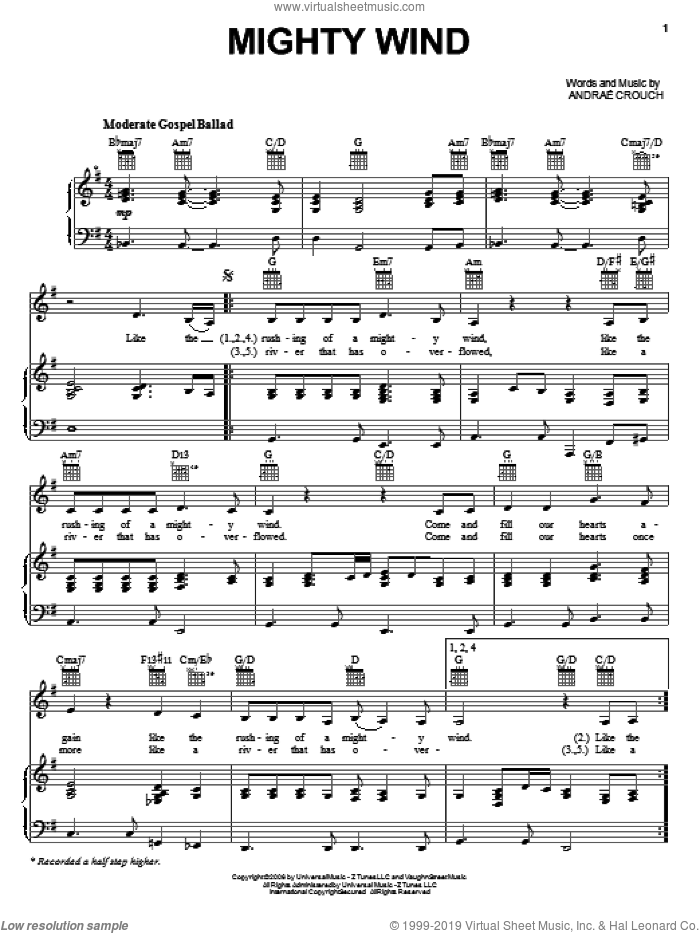 Mighty Wind sheet music for voice, piano or guitar by Andrae Crouch, intermediate skill level