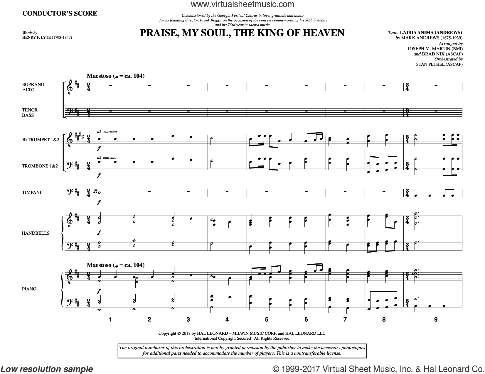 Praise, My Soul, the King of Heaven (COMPLETE) sheet music for orchestra/band by Joseph M. Martin, Brad Nix, Henry F. Lyte, John Goss and Mark Andrews, intermediate skill level