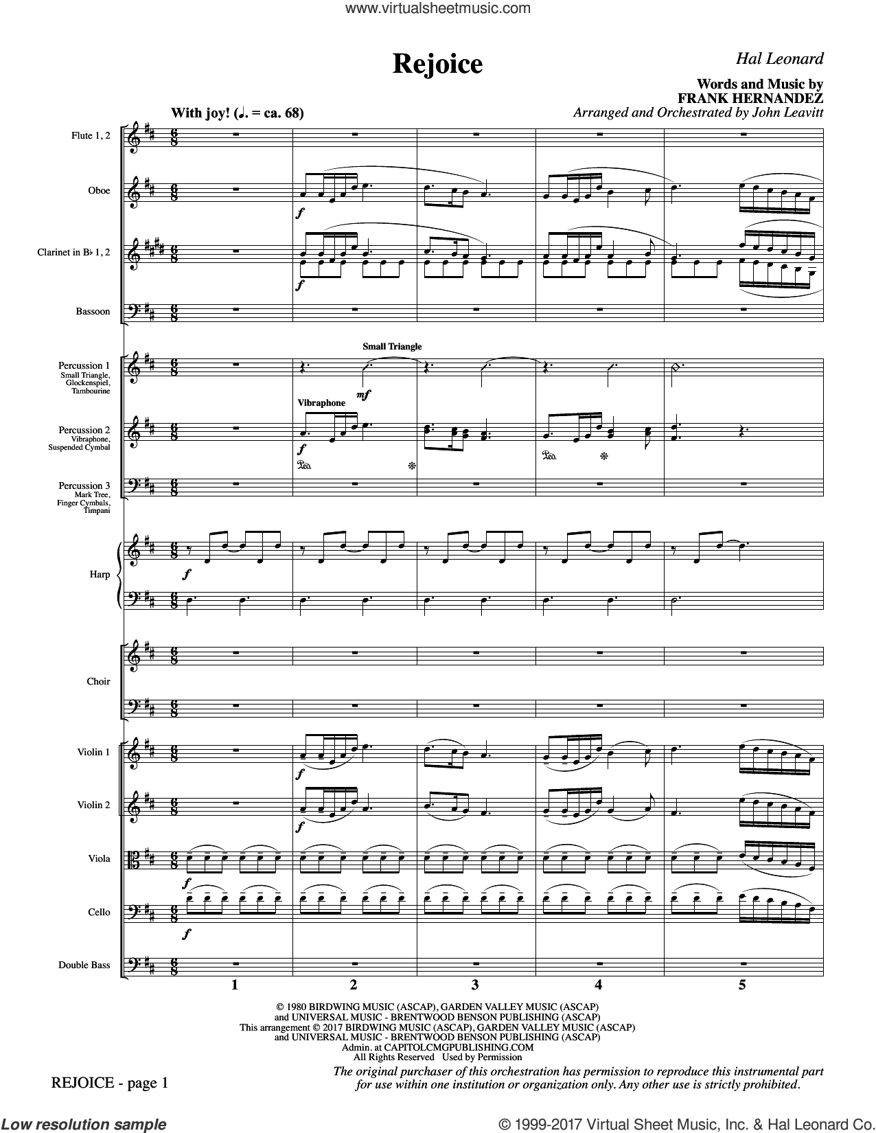 Rejoice (COMPLETE) sheet music for orchestra/band by John Leavitt and Frank Hernandez, intermediate. Score Image Preview.