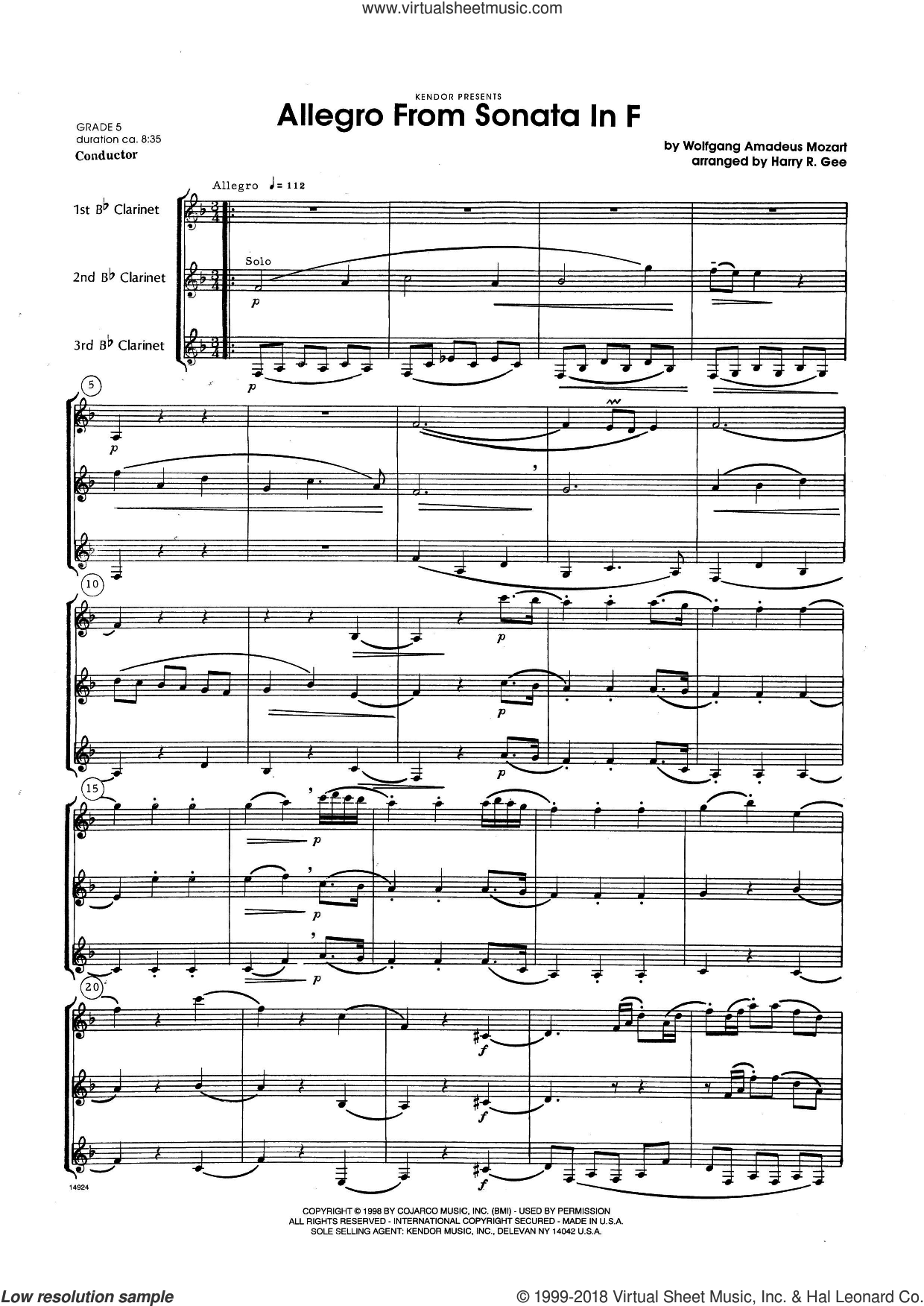 Allegro From Sonata In F (COMPLETE) sheet music for clarinet trio by Harry Gee and Wolfgang Amadeus Mozart, classical score, intermediate. Score Image Preview.