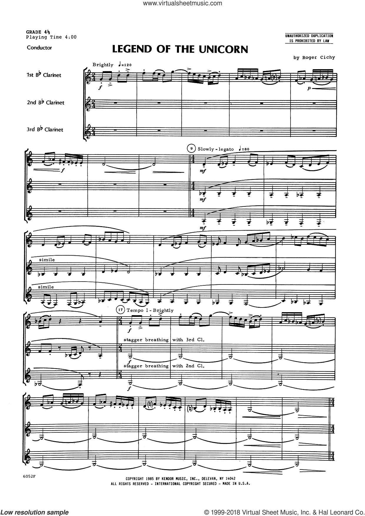 Legend Of The Unicorn (COMPLETE) sheet music for clarinet trio by Roger Cichy, intermediate. Score Image Preview.