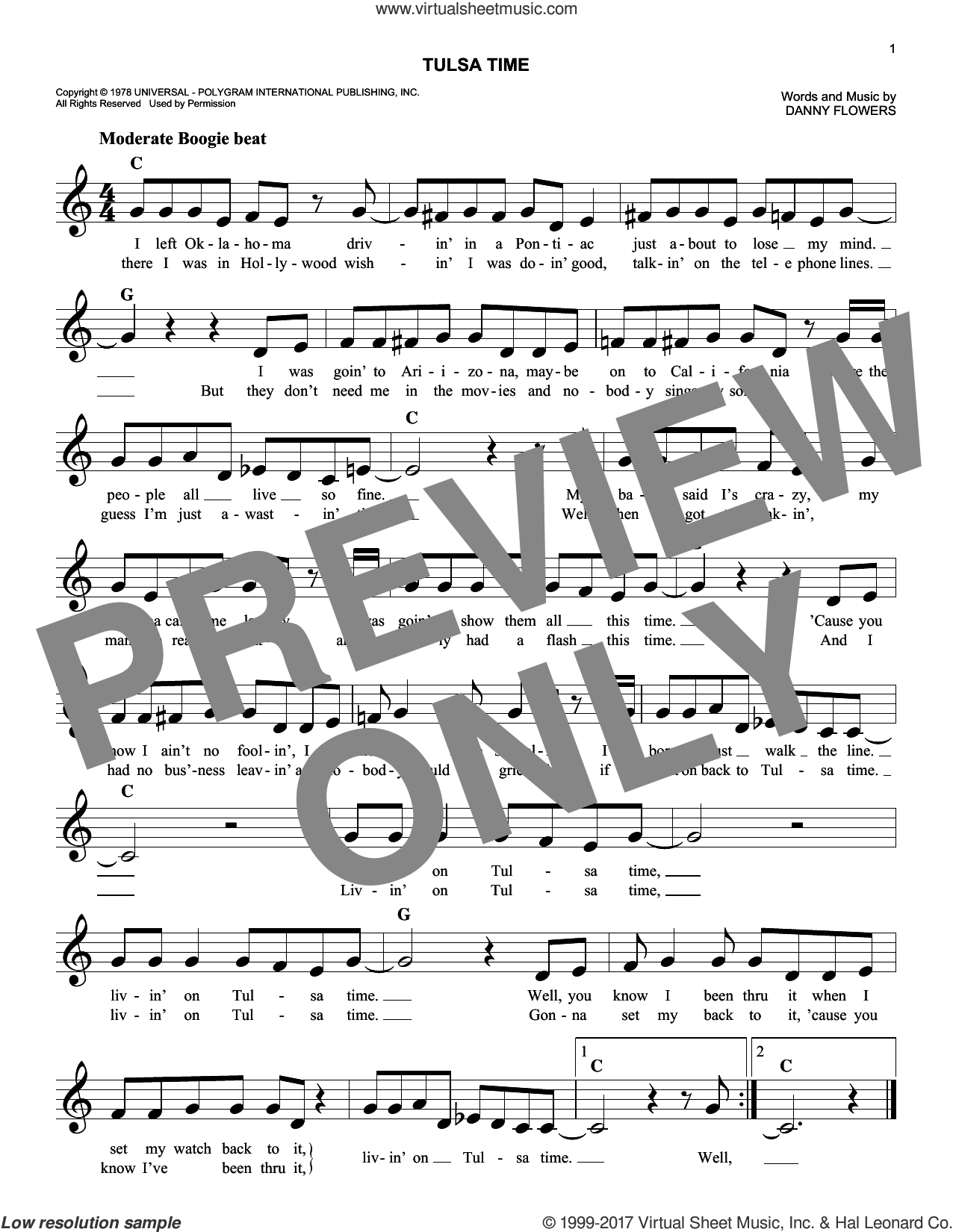 Tulsa Time sheet music for voice and other instruments (fake book) by Don Williams and Danny Flowers, intermediate skill level