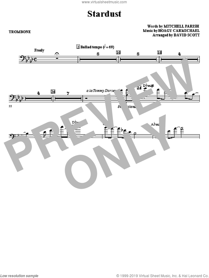 Stardust (complete set of parts) sheet music for orchestra/band (Rhythm) by David Scott, Hoagy Carmichael, Jo Stafford and Mitchell Parish, intermediate skill level