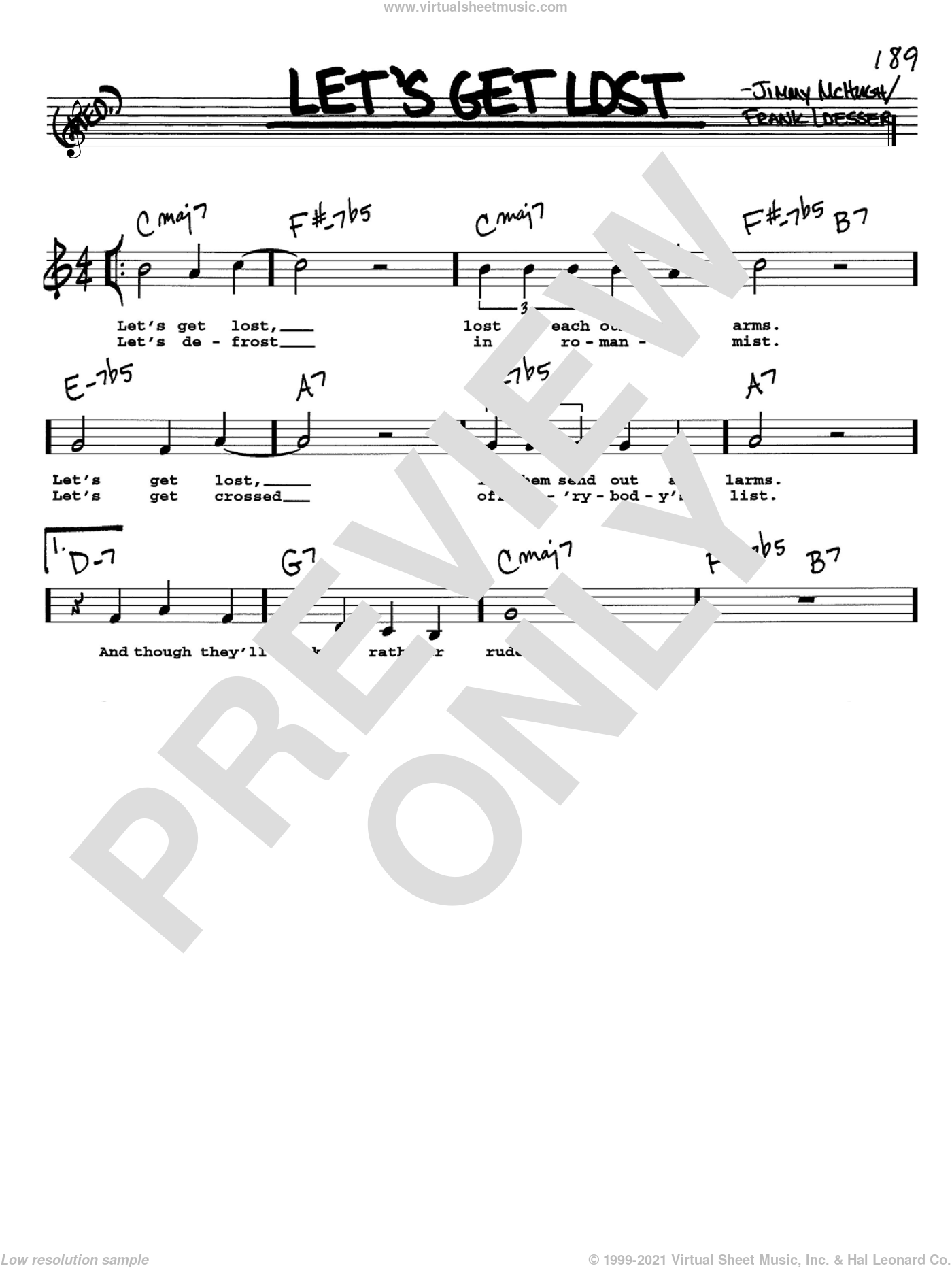 Let's Get Lost sheet music for voice and other instruments (Vocal Volume 1) by Jimmy McHugh and Frank Loesser. Score Image Preview.