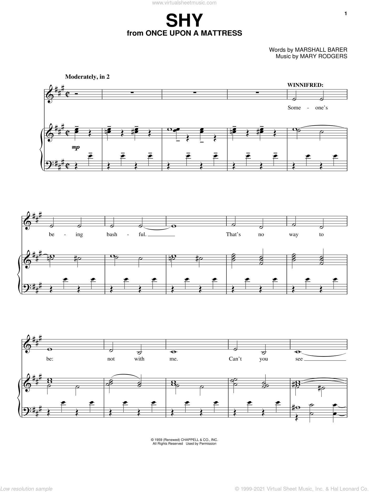 Shy sheet music for voice and piano by Mary Rodgers, Richard Walters and Marshall Barer, classical score, intermediate voice. Score Image Preview.