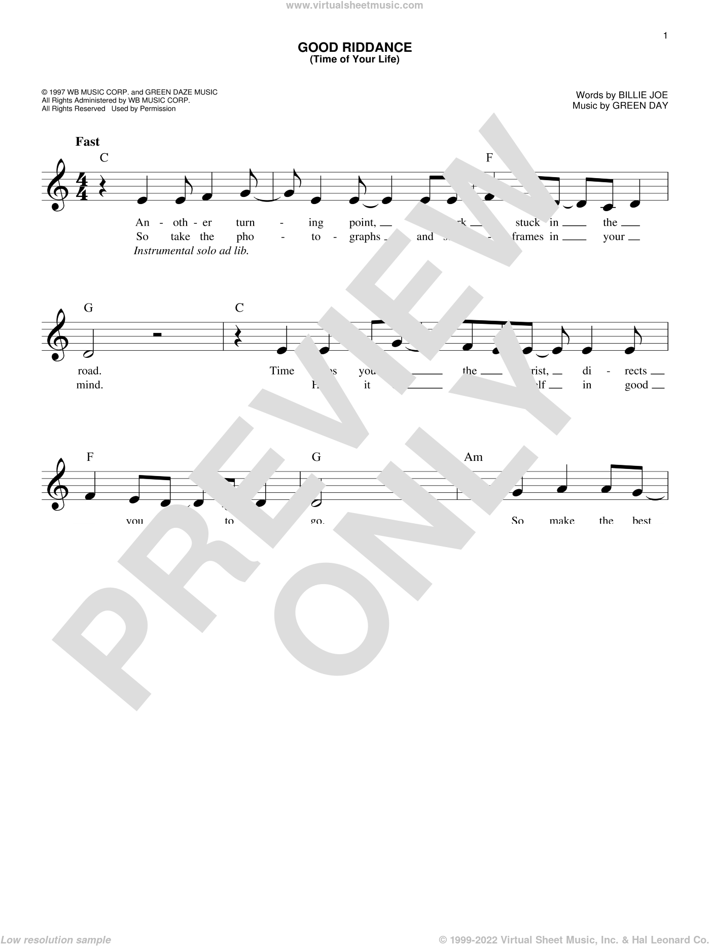 Good Riddance (Time Of Your Life) sheet music for voice and other instruments (fake book) by Green Day and Billie Joe, intermediate skill level