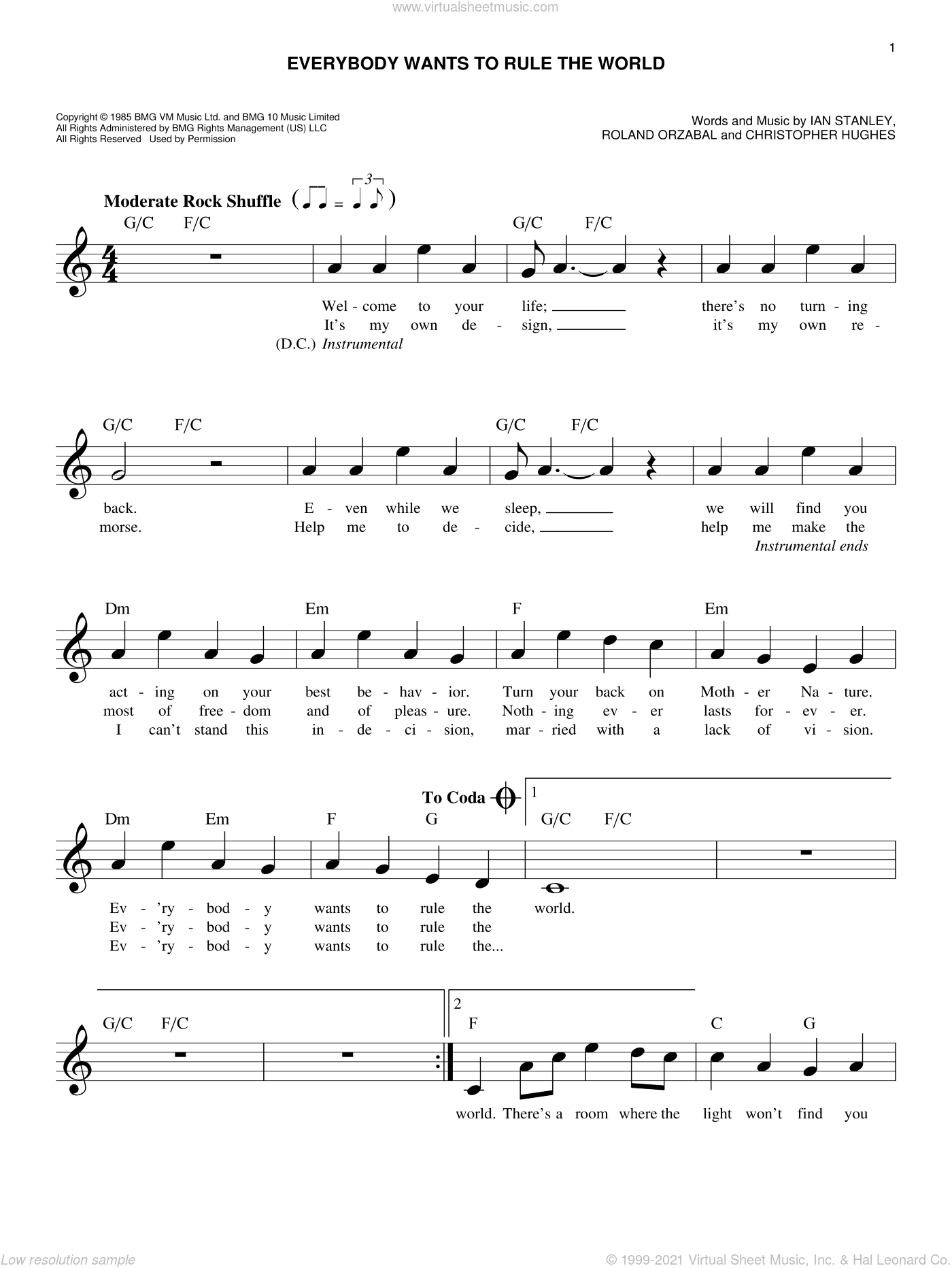 Everybody Wants To Rule The World sheet music for voice and other instruments (fake book) by Tears For Fears, Christopher Hughes, Ian Stanley and Roland Orzabal, intermediate skill level