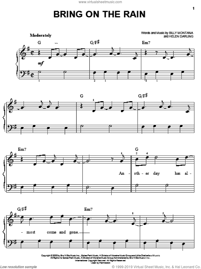 Bring On The Rain sheet music for piano solo by Jo Dee Messina, Tim McGraw, Billy Montana and Helen Darling, easy skill level