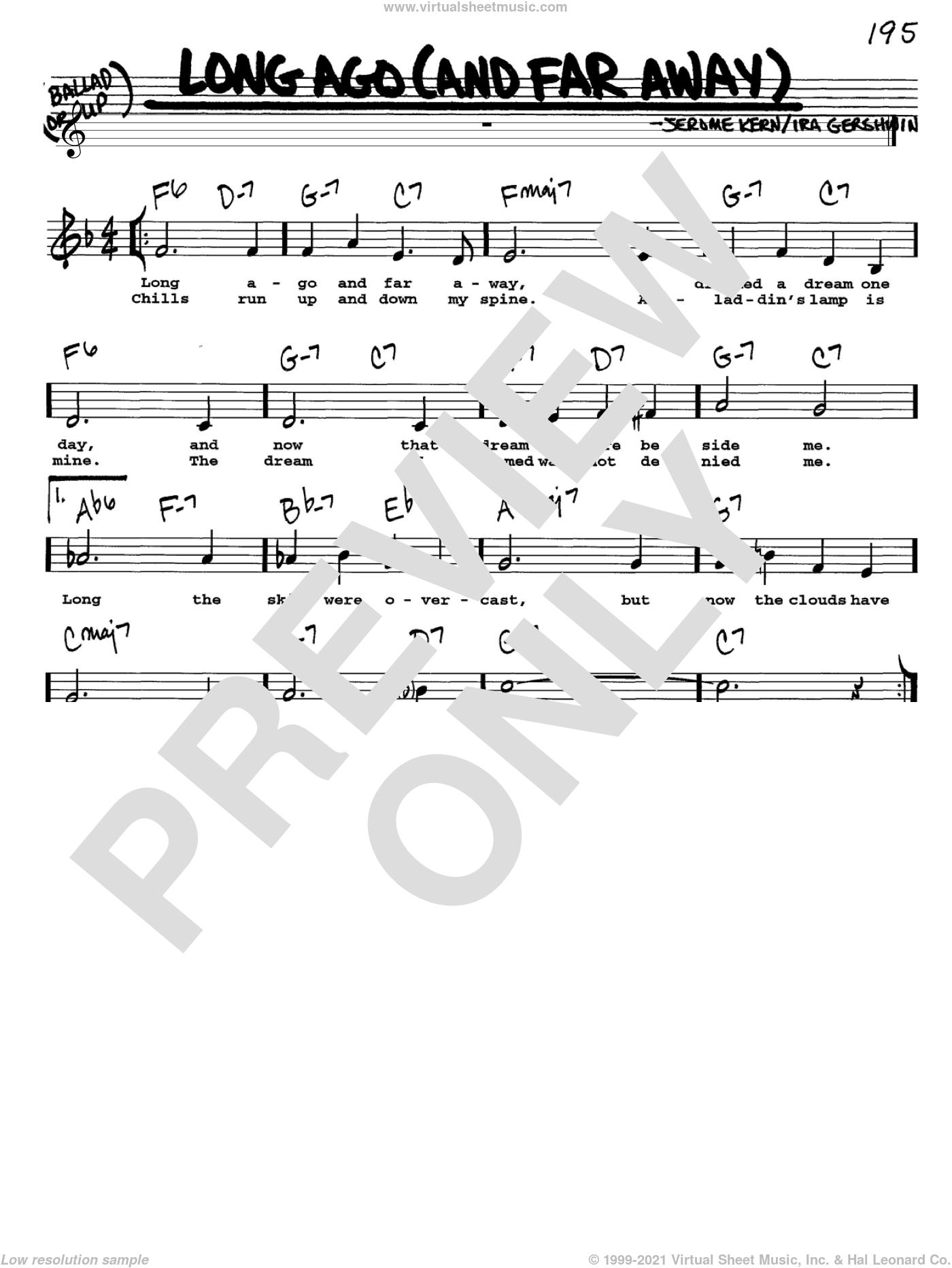 Long Ago (And Far Away) sheet music for voice and other instruments  by Jerome Kern and Ira Gershwin, intermediate skill level