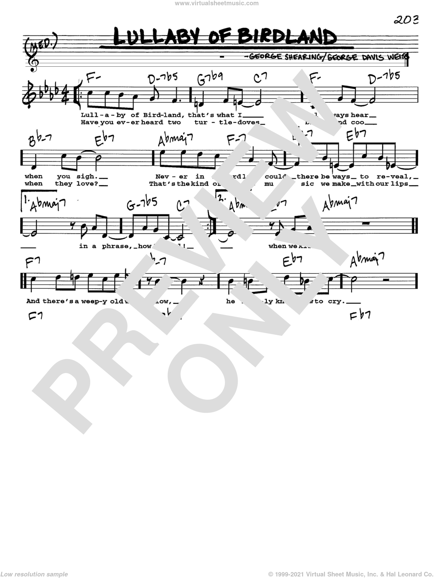 Lullaby Of Birdland sheet music for voice and other instruments (Vocal Volume 1) by George David Weiss and George Shearing. Score Image Preview.