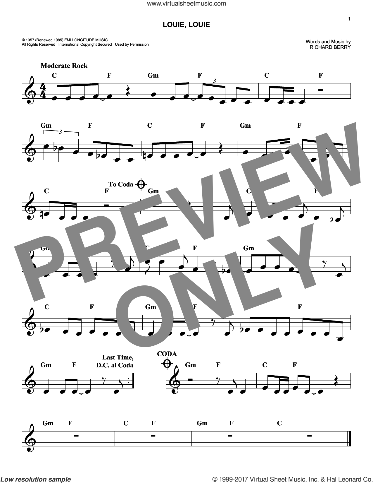 Louie, Louie sheet music for voice and other instruments (fake book) by The Kingsmen and Richard Berry, intermediate skill level