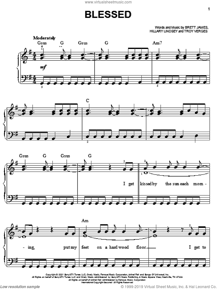 Blessed sheet music for piano solo by Martina McBride, Brett James, Hillary Lindsey and Troy Verges, easy skill level