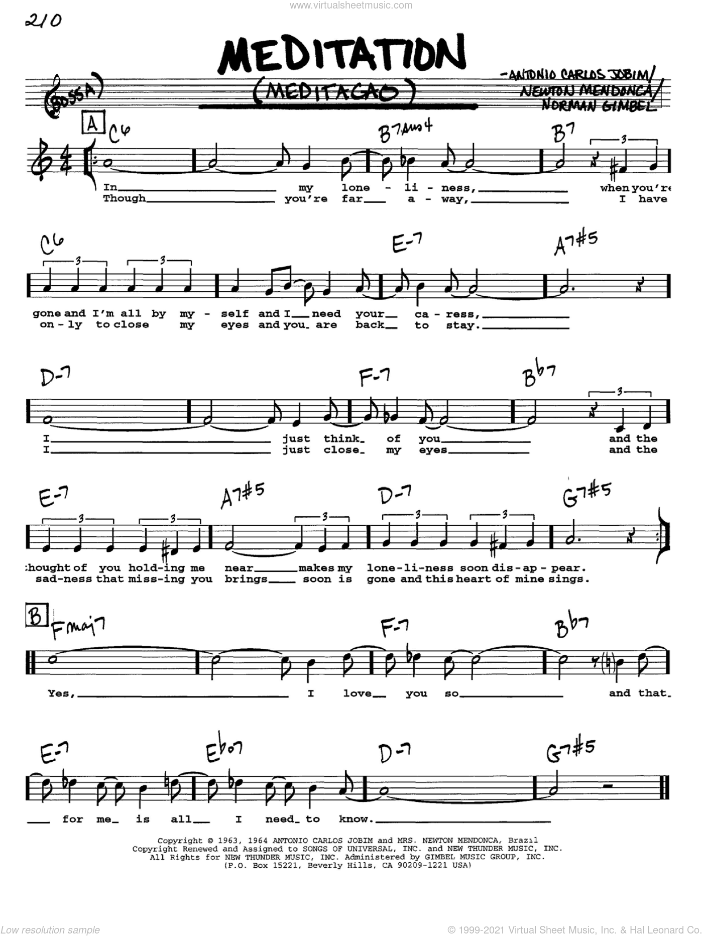 Meditation (Meditacao) sheet music for voice and other instruments  by Antonio Carlos Jobim, Newton Mendonca and Norman Gimbel, intermediate