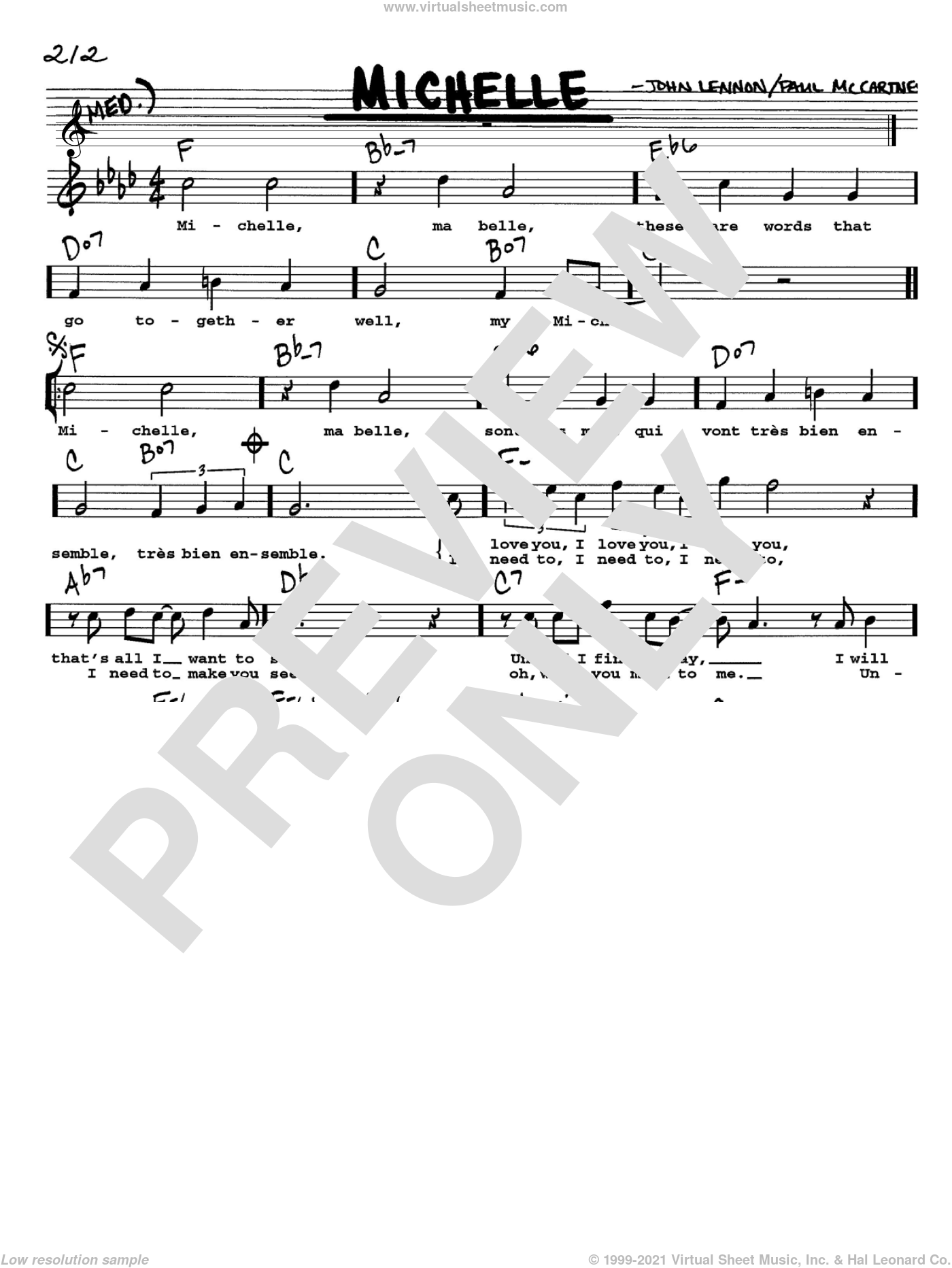 Michelle sheet music for voice and other instruments (Vocal Volume 1) by The Beatles, John Lennon and Paul McCartney, intermediate voice. Score Image Preview.