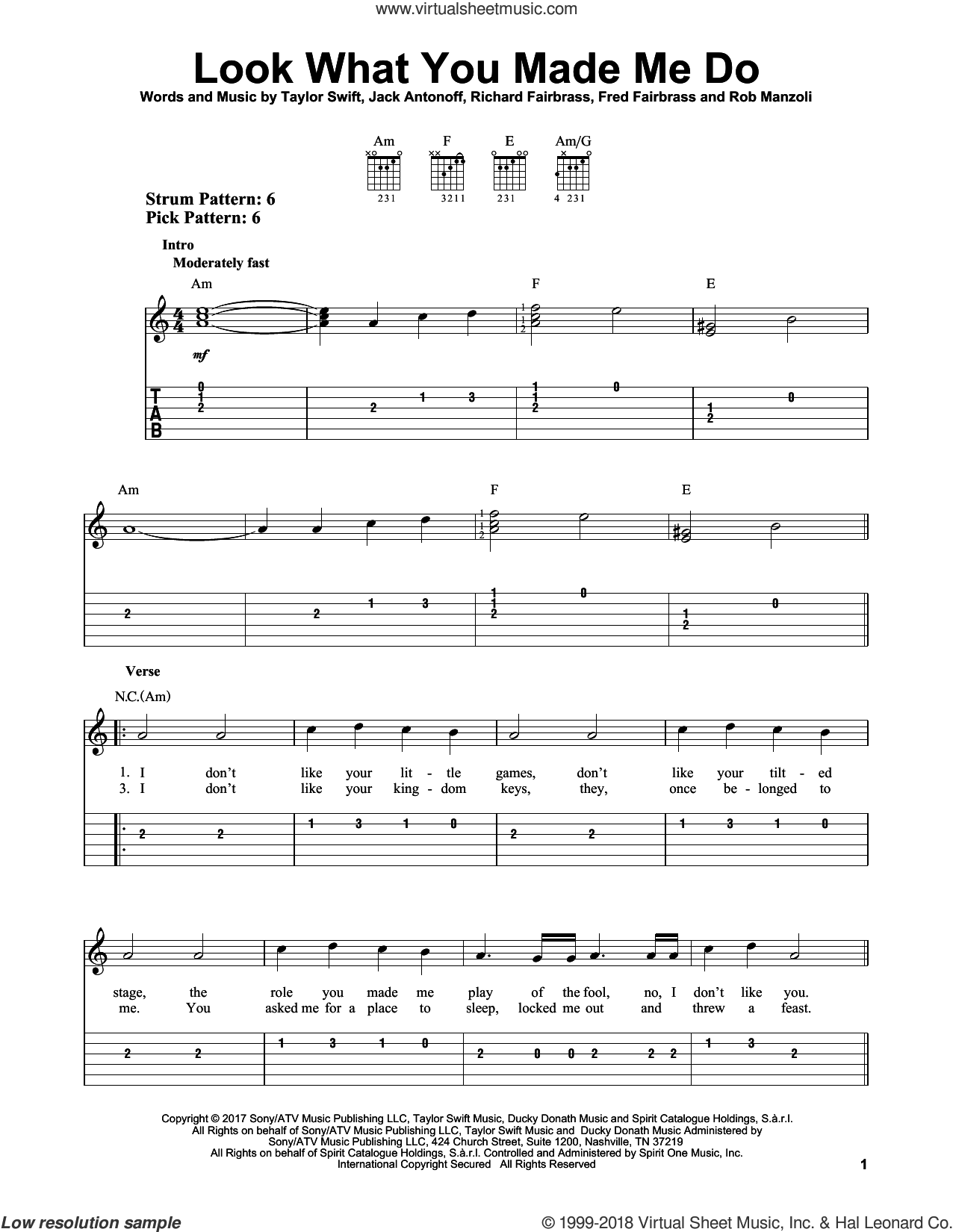 Look What You Made Me Do sheet music for guitar solo (easy tablature) by Taylor Swift, Fred Fairbrass, Jack Antonoff, Richard Fairbrass and Rob Manzoli. Score Image Preview.