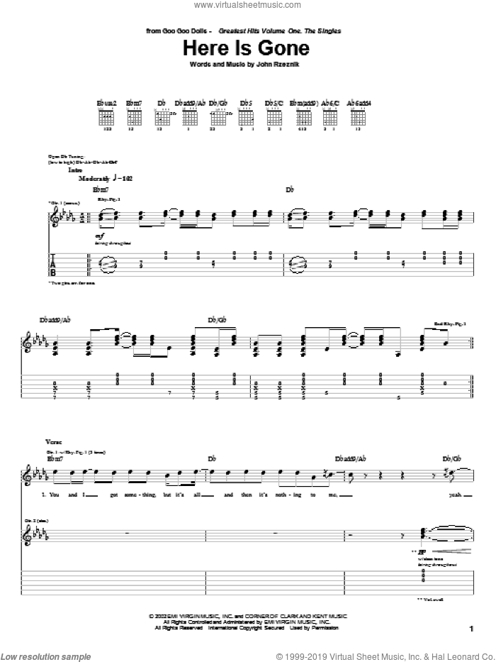 Here Is Gone sheet music for guitar (tablature) by Goo Goo Dolls and John Rzeznik, intermediate. Score Image Preview.
