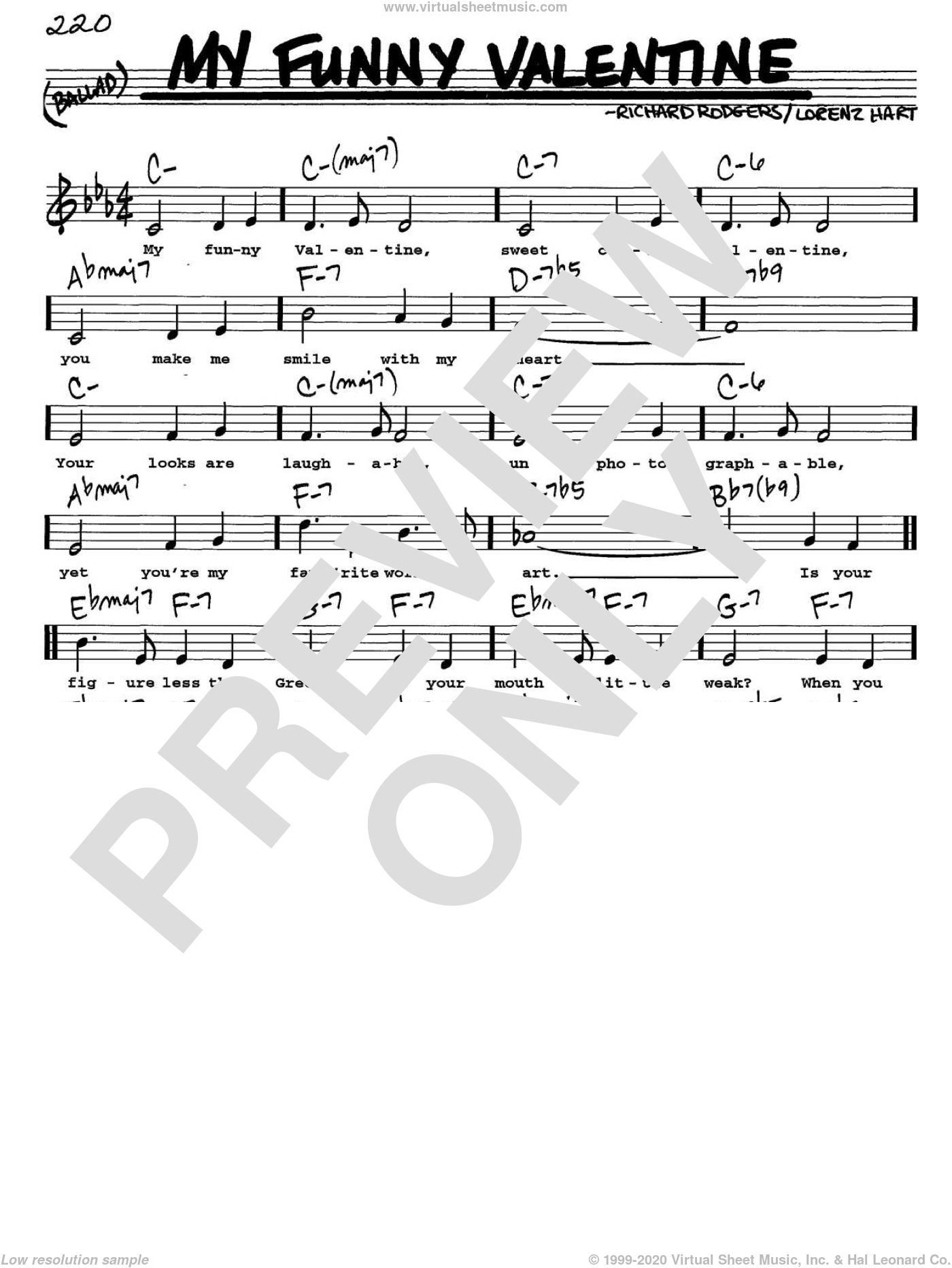 My Funny Valentine sheet music for voice and other instruments (Vocal Volume 1) by Richard Rodgers, Rodgers & Hart and Lorenz Hart. Score Image Preview.