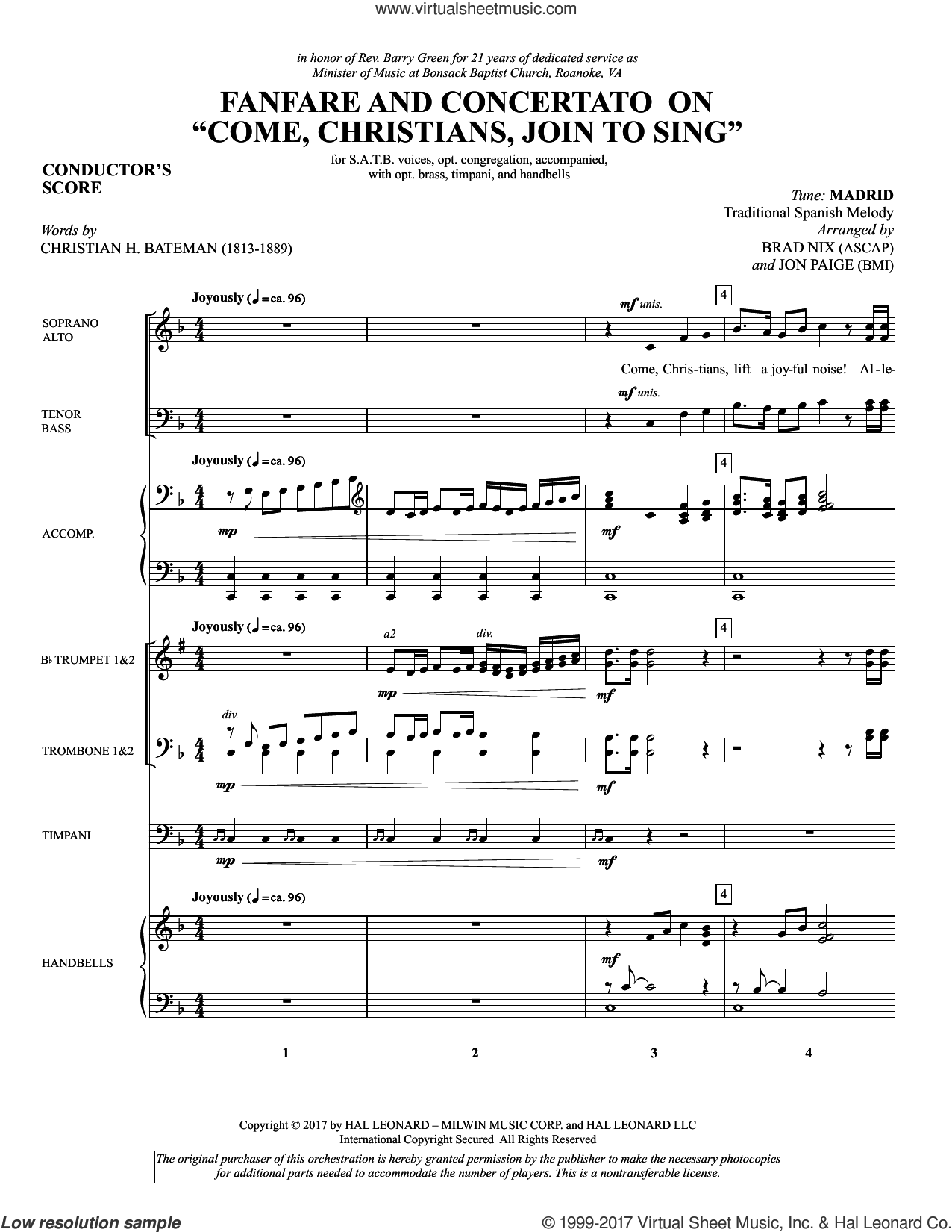 Fanfare and Concertato on 'Come, Christians, Join to Sing' (Brass and Timpani) (COMPLETE) sheet music for orchestra/band by Brad Nix, Christian Henry Bateman, Jon Paige and Miscellaneous, intermediate skill level