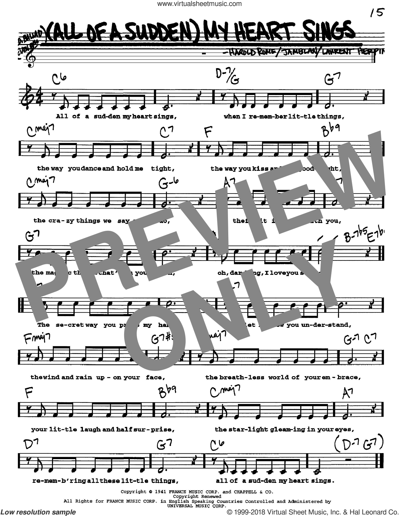 (All Of A Sudden) My Heart Sings sheet music for voice and other instruments (Vocal Volume 1) by Laurent Herpin, Paul Anka and Harold Rome. Score Image Preview.