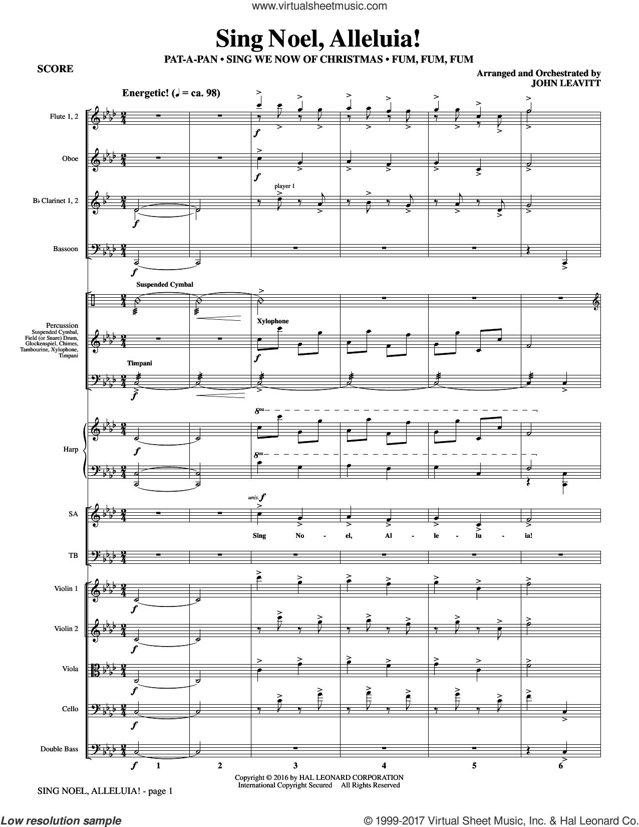 Sing Noel, Alleluia! (COMPLETE) sheet music for orchestra/band by John Leavitt, Christmas carol score, intermediate orchestra/band. Score Image Preview.