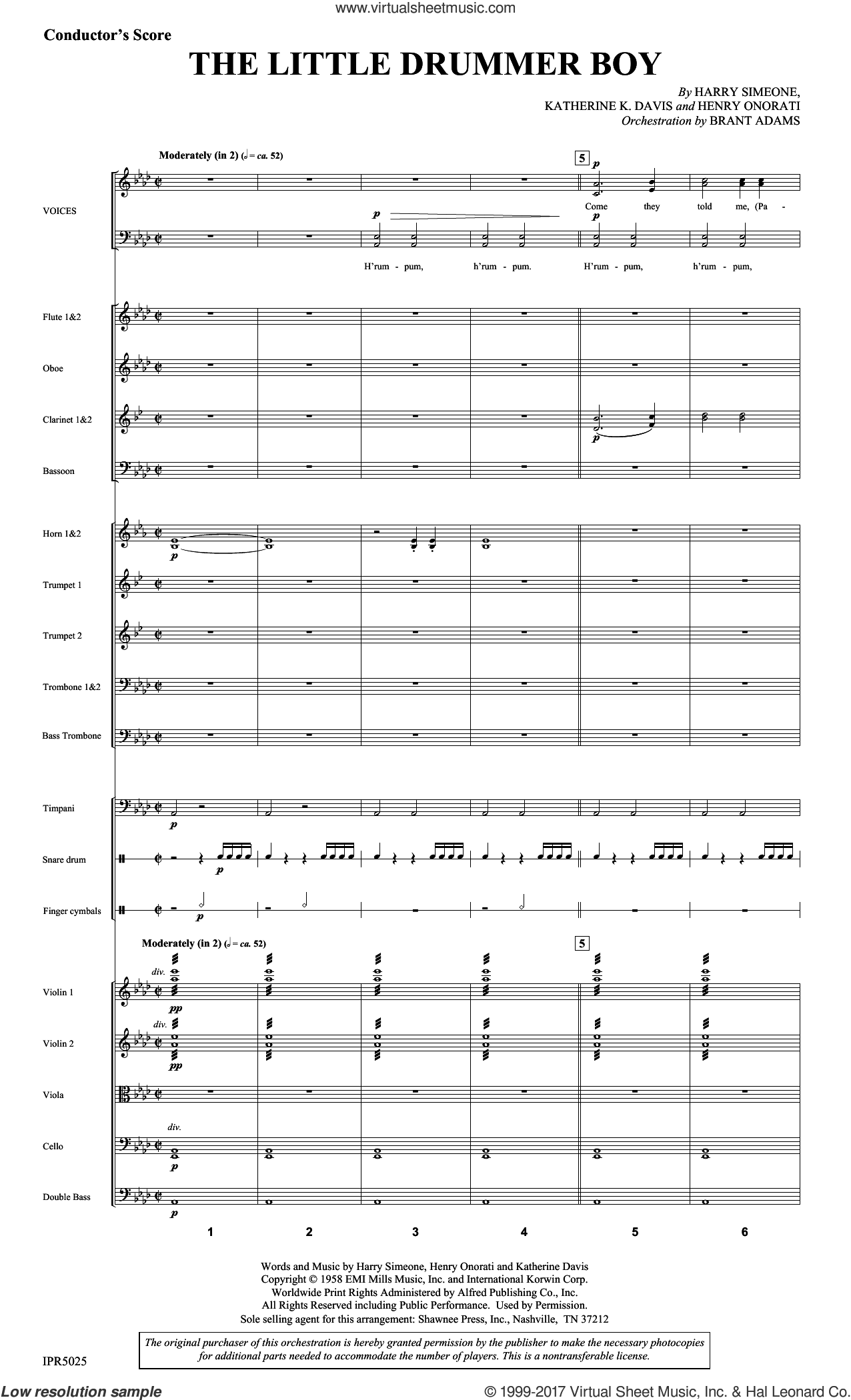 The Little Drummer Boy (COMPLETE) sheet music for orchestra/band by Harry Simeone, Henry Onorati and Katherine Davis, intermediate skill level