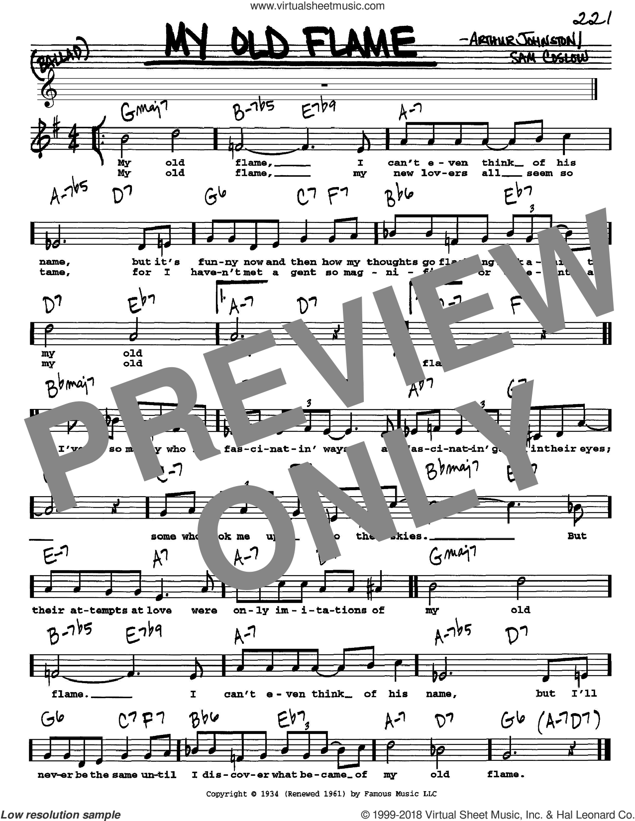 My Old Flame sheet music for voice and other instruments (Vocal Volume 1) by Sam Coslow, Peggy Lee and Arthur Johnston. Score Image Preview.