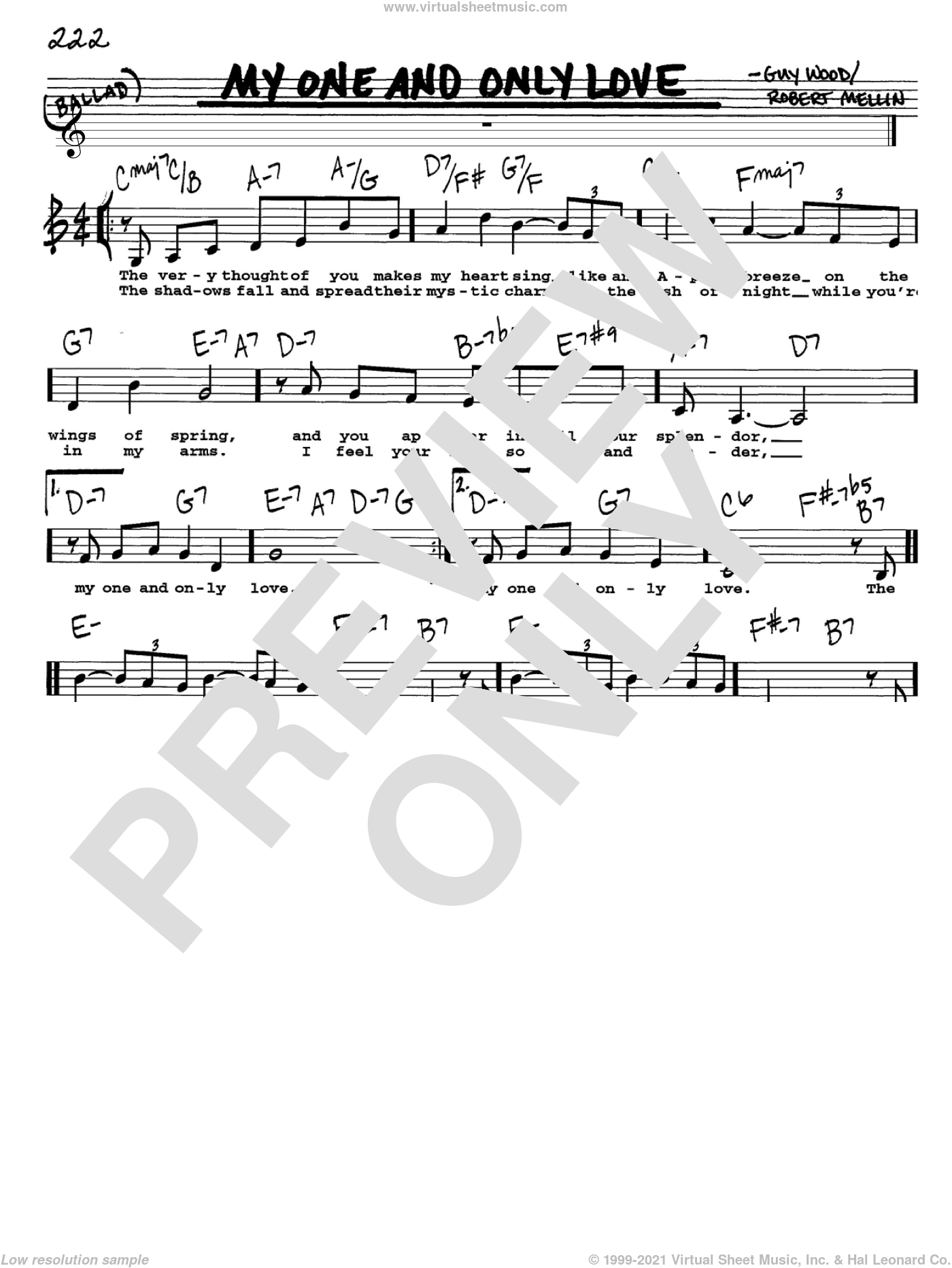My One And Only Love sheet music for voice and other instruments (Vocal Volume 1) by Guy Wood and Robert Mellin. Score Image Preview.