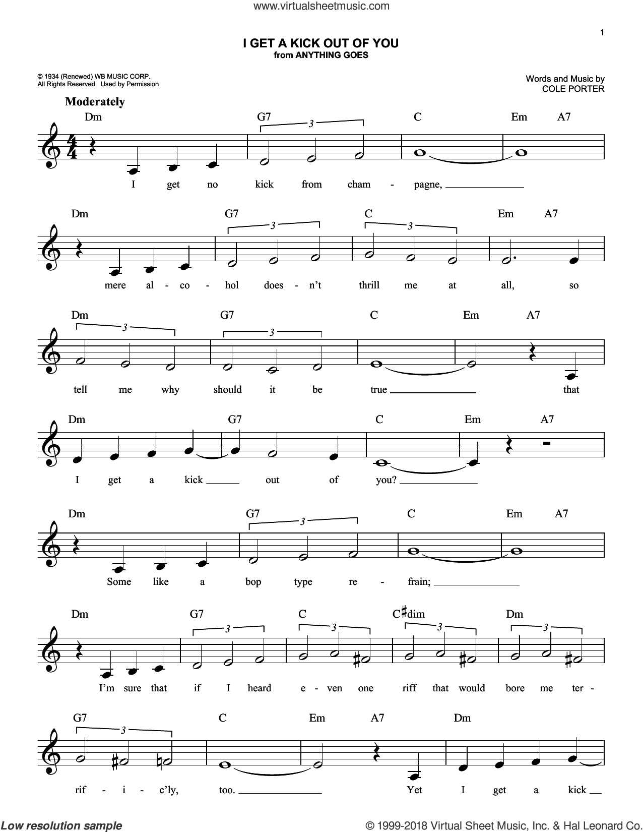 I Get A Kick Out Of You sheet music for voice and other instruments (fake book) by Frank Sinatra and Cole Porter, intermediate skill level