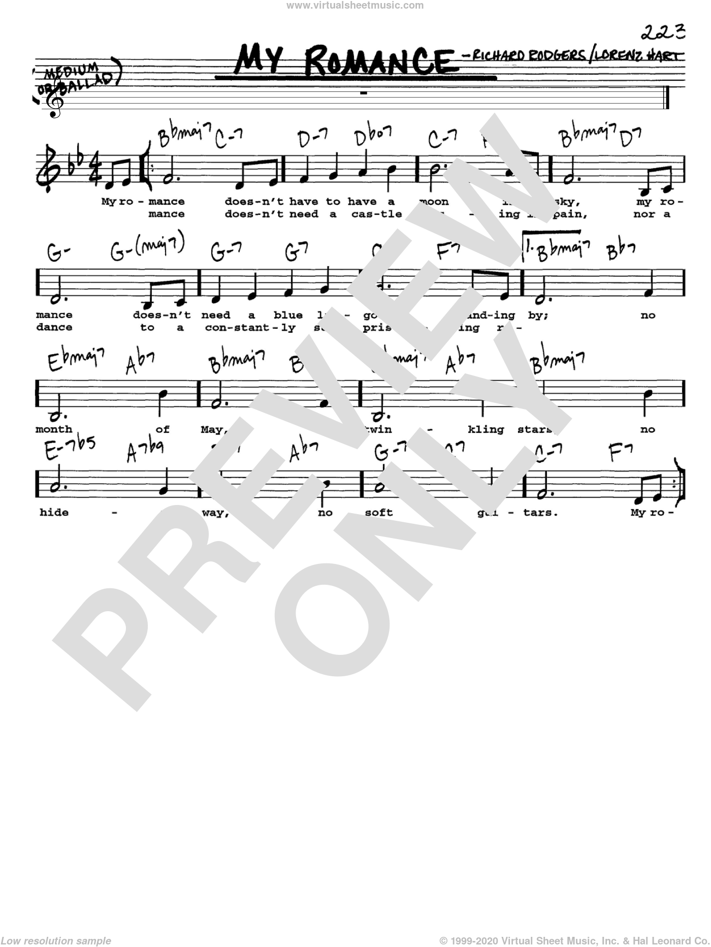 My Romance sheet music for voice and other instruments  by Rodgers & Hart, Lorenz Hart and Richard Rodgers, intermediate skill level