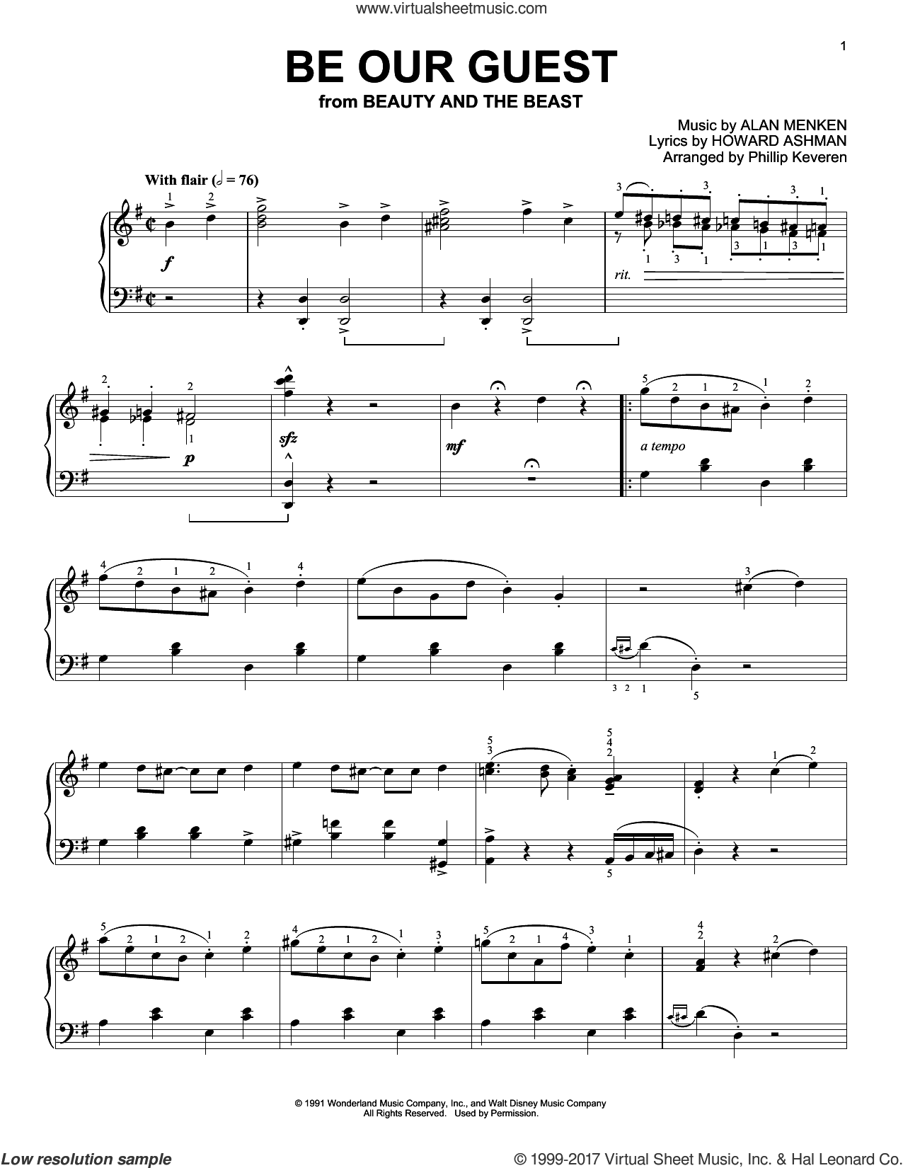 Be Our Guest [Ragtime version] (from Beauty And The Beast) (arr. Phillip Keveren) sheet music for piano solo by Alan Menken, Phillip Keveren and Howard Ashman, intermediate skill level
