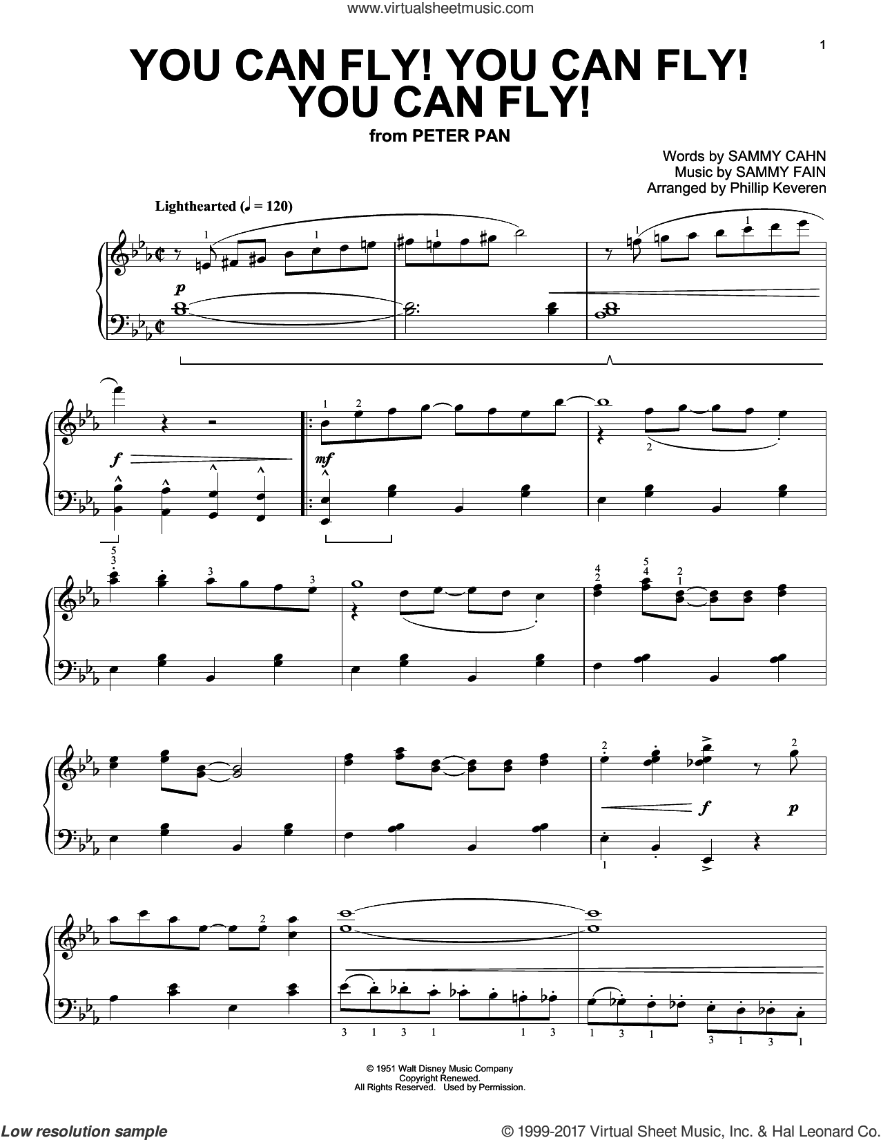 You Can Fly! You Can Fly! You Can Fly!, (intermediate) sheet music for piano solo by Sammy Cahn, Phillip Keveren and Sammy Fain, intermediate. Score Image Preview.