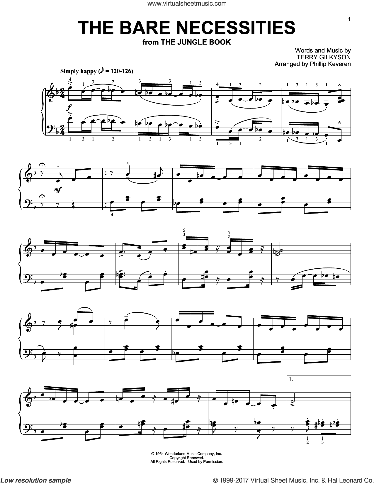 The Bare Necessities [Ragtime version] (from The Jungle Book) (arr. Phillip Keveren) sheet music for piano solo by Terry Gilkyson and Phillip Keveren, intermediate skill level