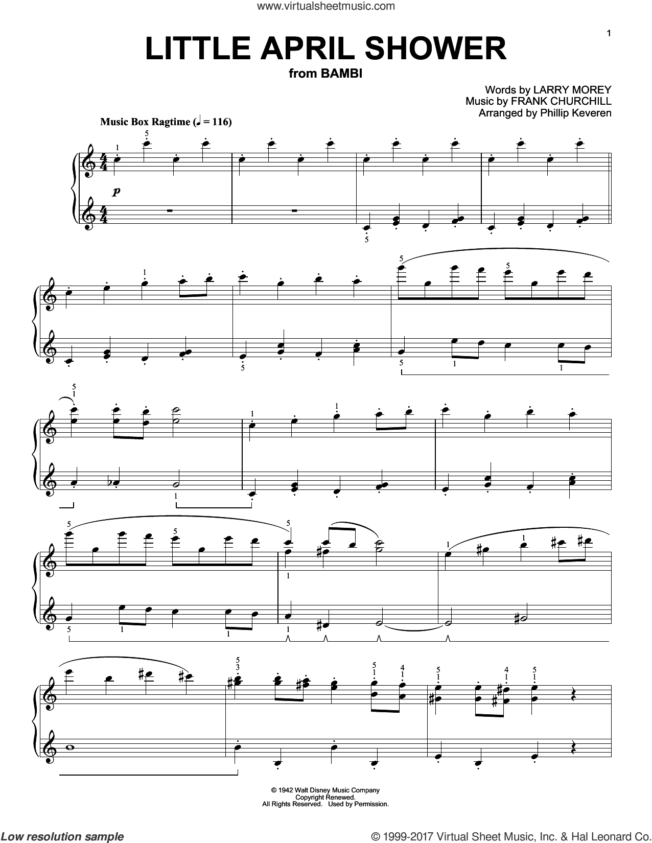 Little April Shower sheet music for piano solo by Larry Morey, Phillip Keveren and Frank Churchill, intermediate piano. Score Image Preview.