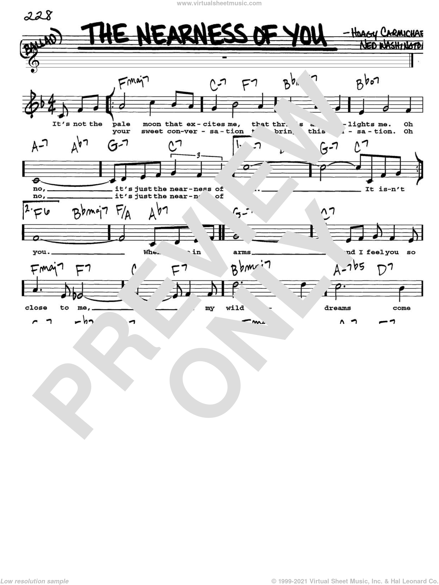 The Nearness Of You sheet music for voice and other instruments (Vocal Volume 1) by Ned Washington and Hoagy Carmichael. Score Image Preview.