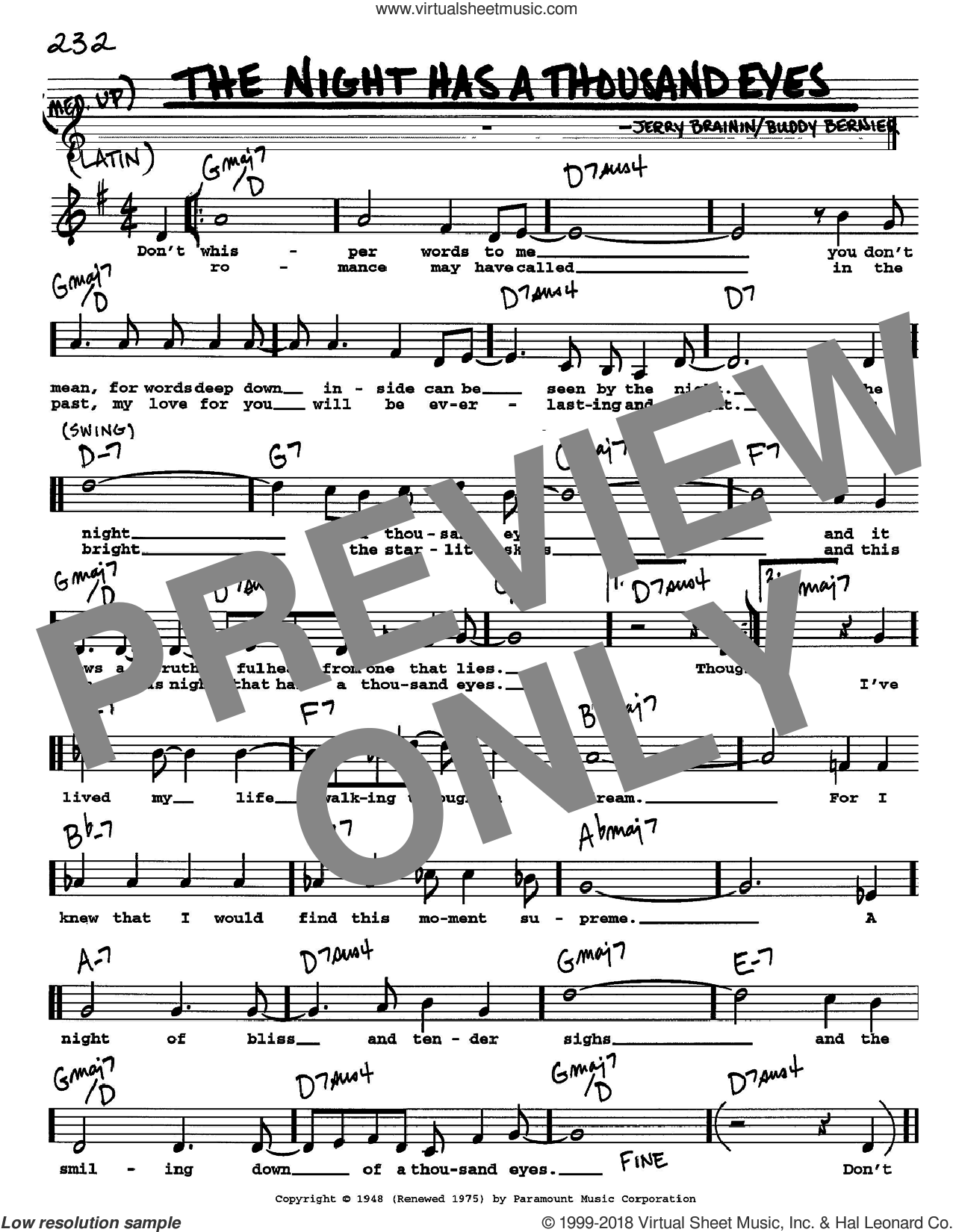 The Night Has A Thousand Eyes sheet music for voice and other instruments (Vocal Volume 1) by Jerry Brainin and Buddy Bernier. Score Image Preview.