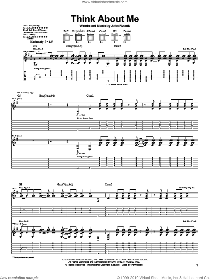 Think About Me sheet music for guitar (tablature) by Goo Goo Dolls and John Rzeznik, intermediate