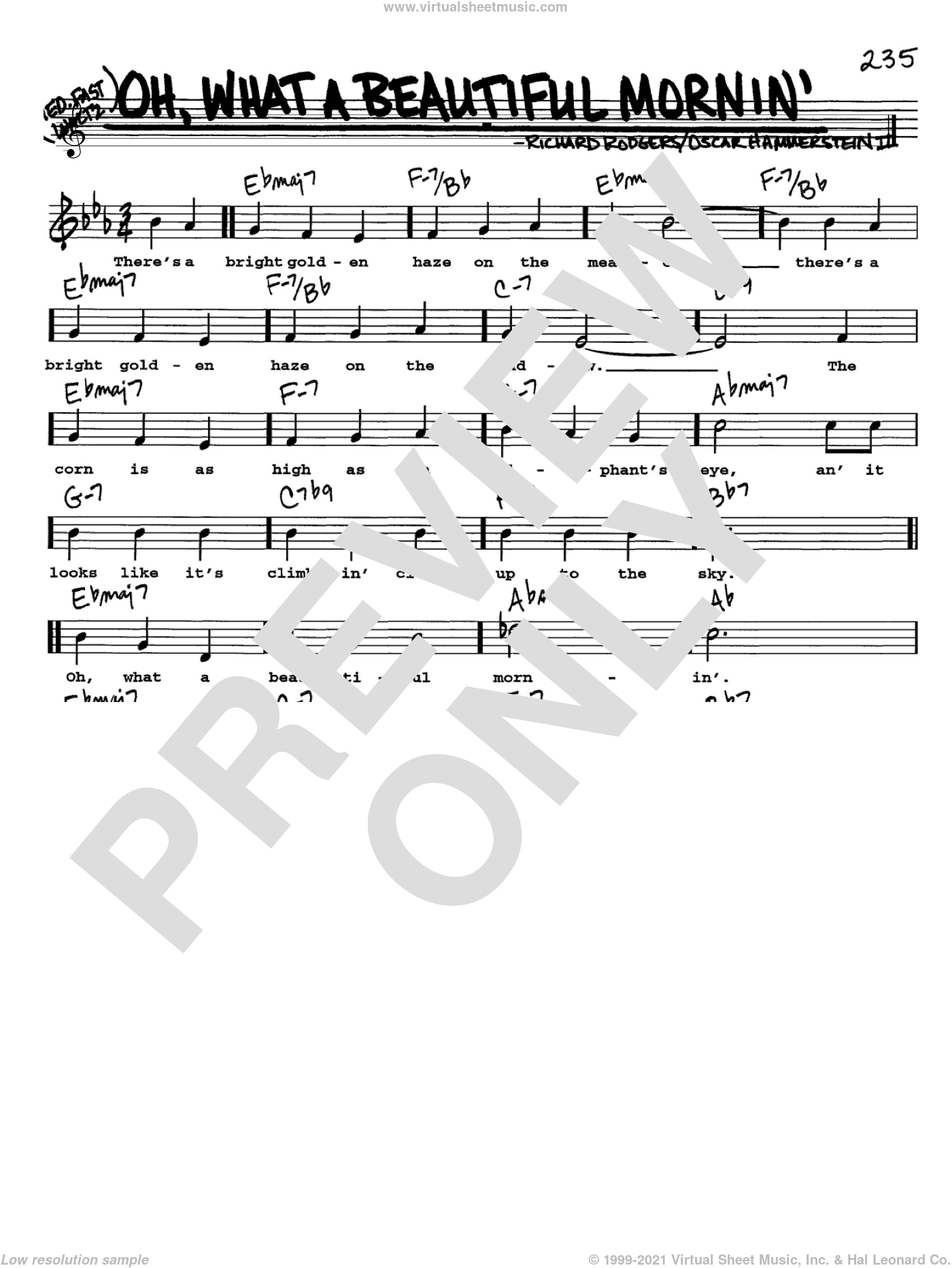 Oh, What A Beautiful Mornin' (from Oklahoma!) sheet music for voice and other instruments  by Rodgers & Hammerstein, Oklahoma! (Musical), Oscar II Hammerstein and Richard Rodgers, intermediate skill level