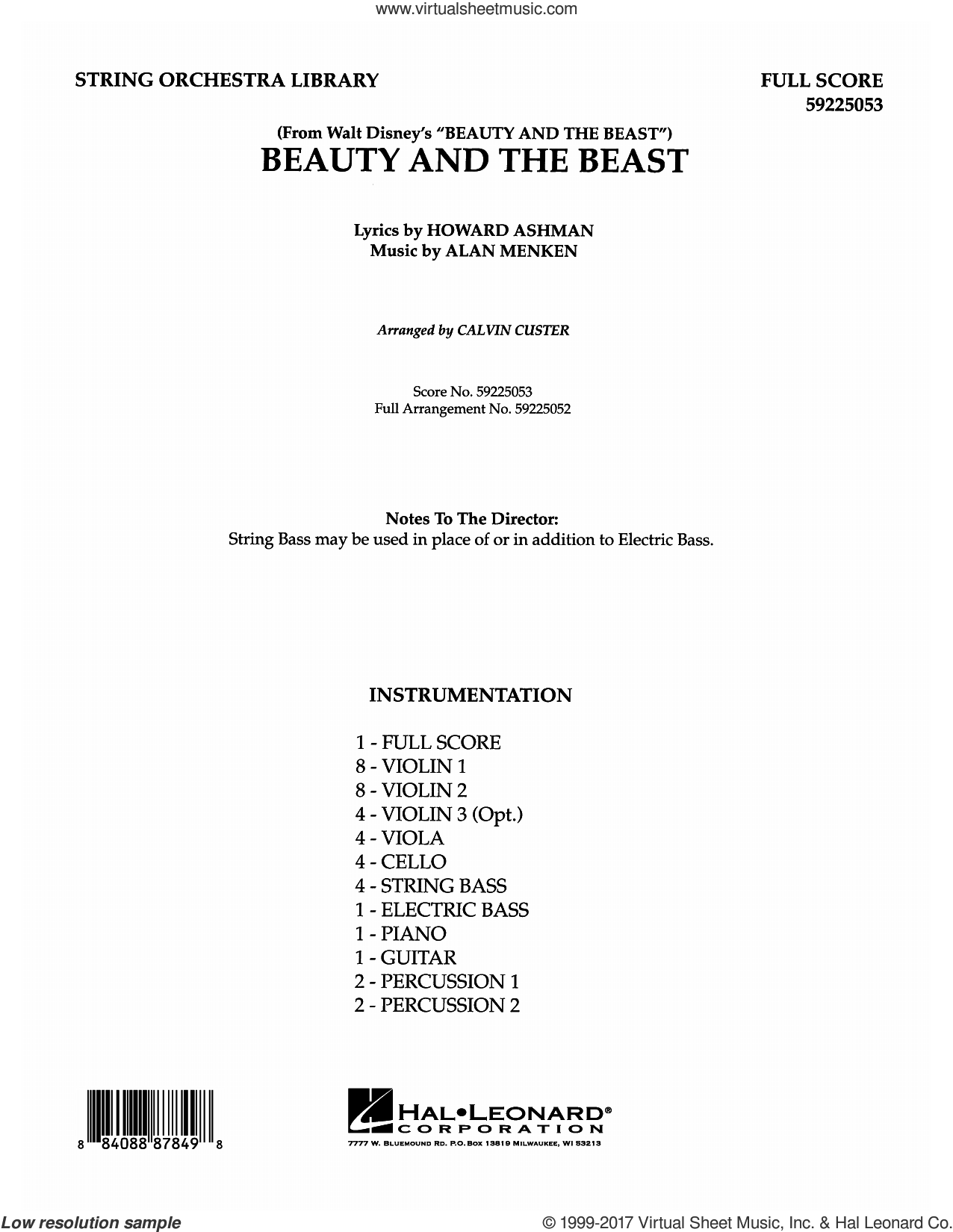 Beauty and the Beast (COMPLETE) sheet music for orchestra by Alan Menken, Calvin Custer, Celine Dion & Peabo Bryson and Howard Ashman, intermediate. Score Image Preview.