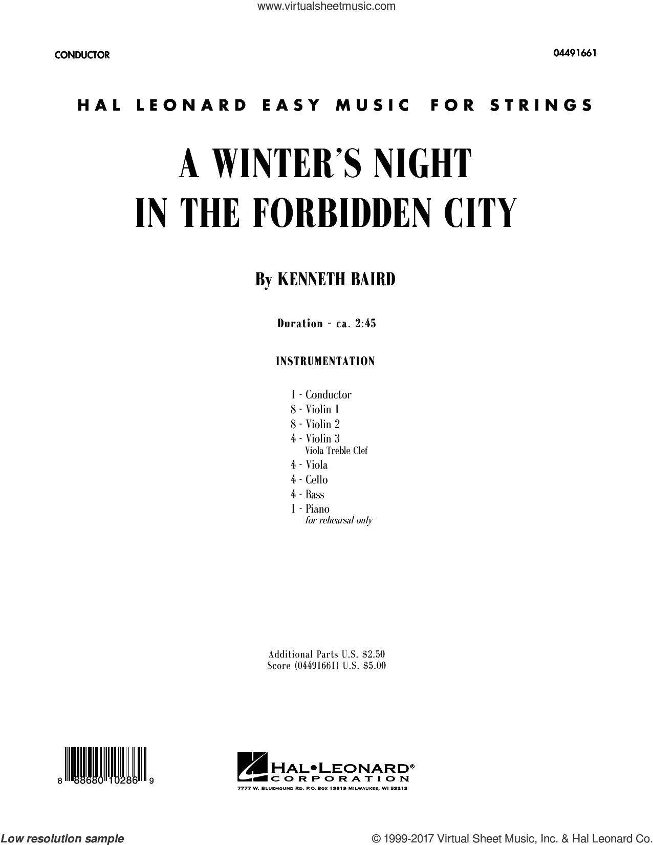 A Winter's Night in the Forbidden City (COMPLETE) sheet music for orchestra by Kenneth Baird, Christmas carol score, intermediate orchestra. Score Image Preview.