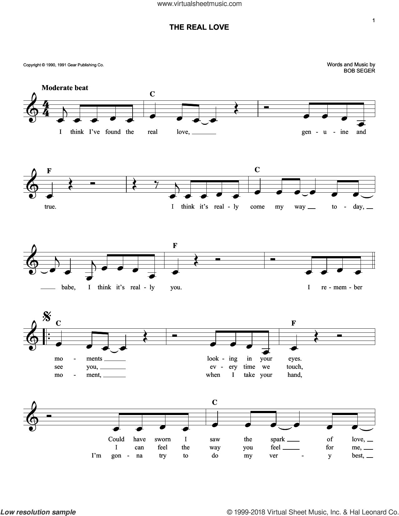The Real Love sheet music for voice and other instruments (fake book) by Bob Seger, intermediate skill level