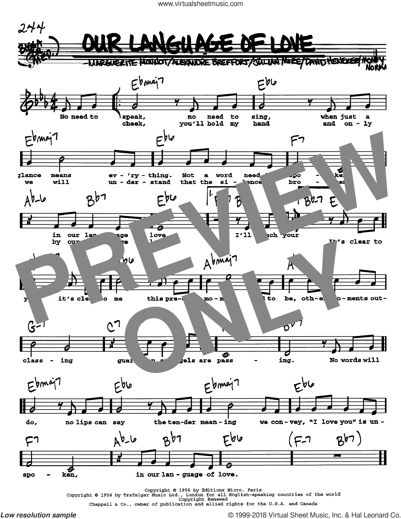 Our Language Of Love sheet music for voice and other instruments  by Alexandre Breffort, David Heneker, Julian More, Marguerite Monnot and Monty Norman, intermediate skill level