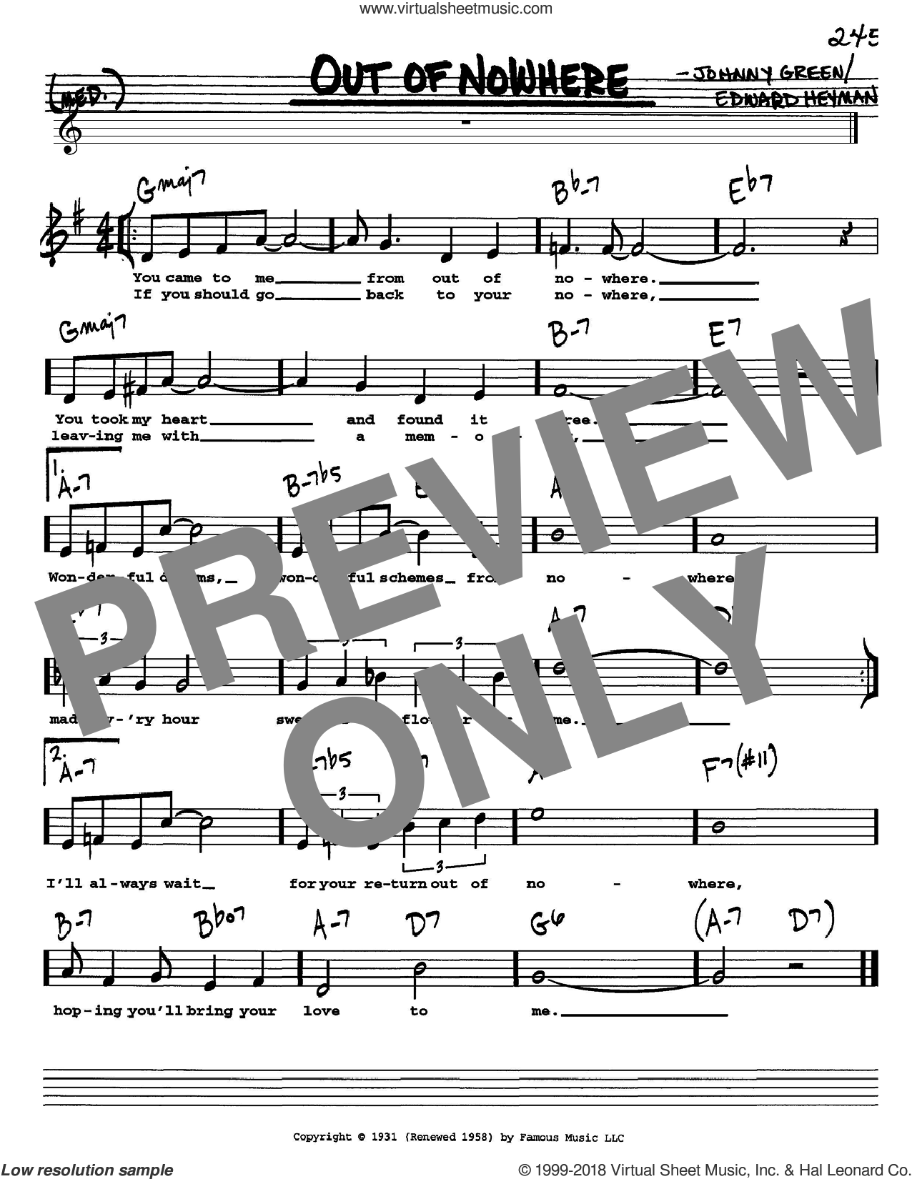 Out Of Nowhere sheet music for voice and other instruments  by Edward Heyman and Johnny Green, intermediate skill level